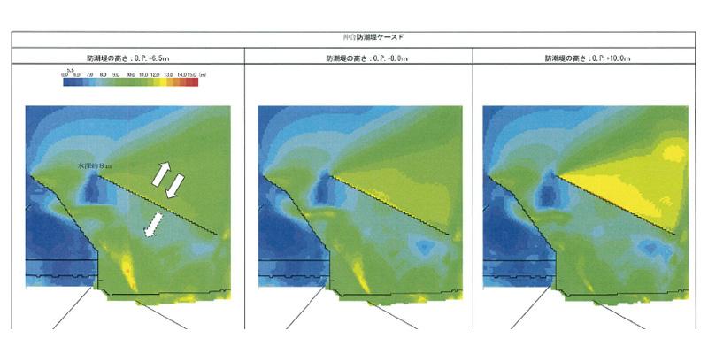 沖合に防潮堤を新設する検討が進められていた