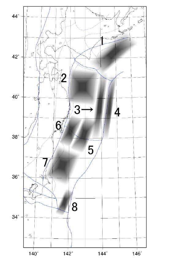 土木学会手法(2002)が想定した津波の波源域
