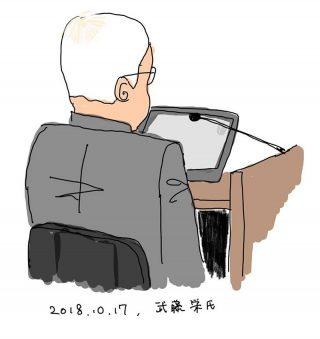 証言する武藤栄氏(絵、吉田千亜氏)